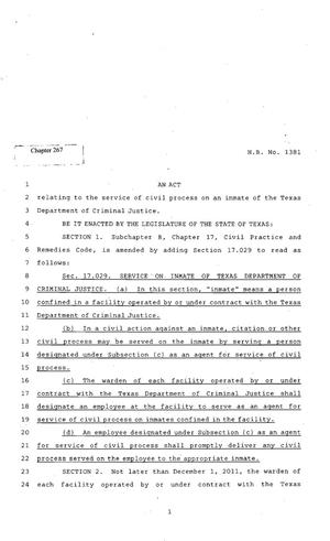 Primary view of object titled '82nd Texas Legislature, Regular Session, House Bill 1381, Chapter 267'.