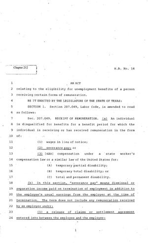 Primary view of object titled '82nd Texas Legislature, Regular Session, House Bill 14, Chapter 212'.