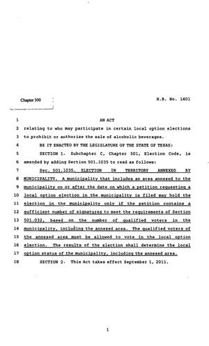 Primary view of object titled '82nd Texas Legislature, Regular Session, House Bill 1401, Chapter 500'.