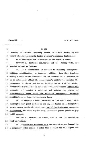 Primary view of object titled '82nd Texas Legislature, Regular Session, House Bill 1404, Chapter 112'.
