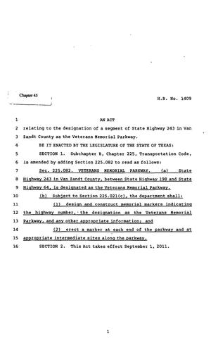 Primary view of object titled '82nd Texas Legislature, Regular Session, House Bill 1409, Chapter 45'.
