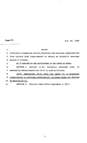Primary view of object titled '82nd Texas Legislature, Regular Session, House Bill 1469, Chapter 755'.