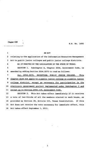 Primary view of object titled '82nd Texas Legislature, Regular Session, House Bill 1495, Chapter 1285'.