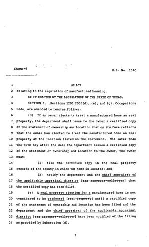Primary view of object titled '82nd Texas Legislature, Regular Session, House Bill 1510, Chapter 46'.