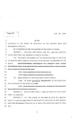 Primary view of object titled '82nd Texas Legislature, Regular Session, House Bill 1525, Chapter 275'.