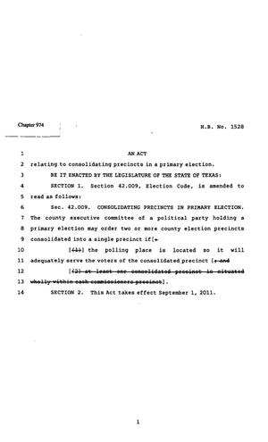 Primary view of object titled '82nd Texas Legislature, Regular Session, House Bill 1528, Chapter 974'.