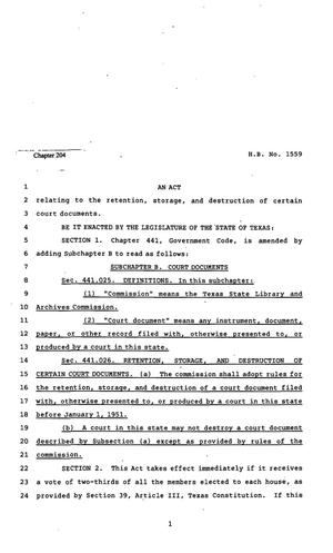 Primary view of object titled '82nd Texas Legislature, Regular Session, House Bill 1559, Chapter 204'.