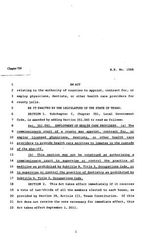 Primary view of object titled '82nd Texas Legislature, Regular Session, House Bill 1566, Chapter 759'.