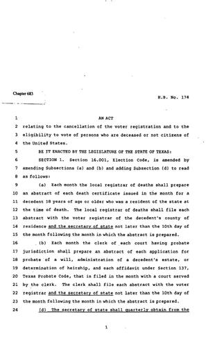 Primary view of object titled '82nd Texas Legislature, Regular Session, House Bill 174, Chapter 683'.