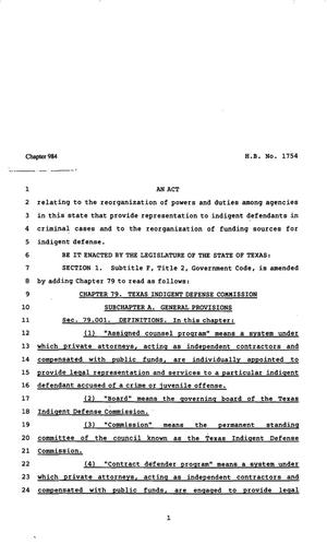 Primary view of object titled '82nd Texas Legislature, Regular Session, House Bill 1754, Chapter 984'.