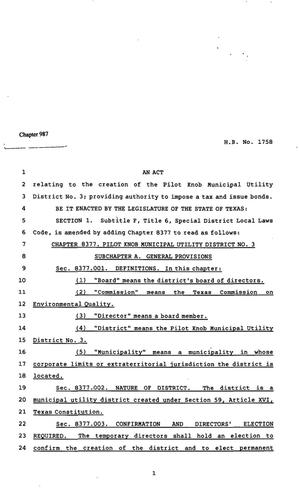 82nd Texas Legislature, Regular Session, House Bill 1758, Chapter 987