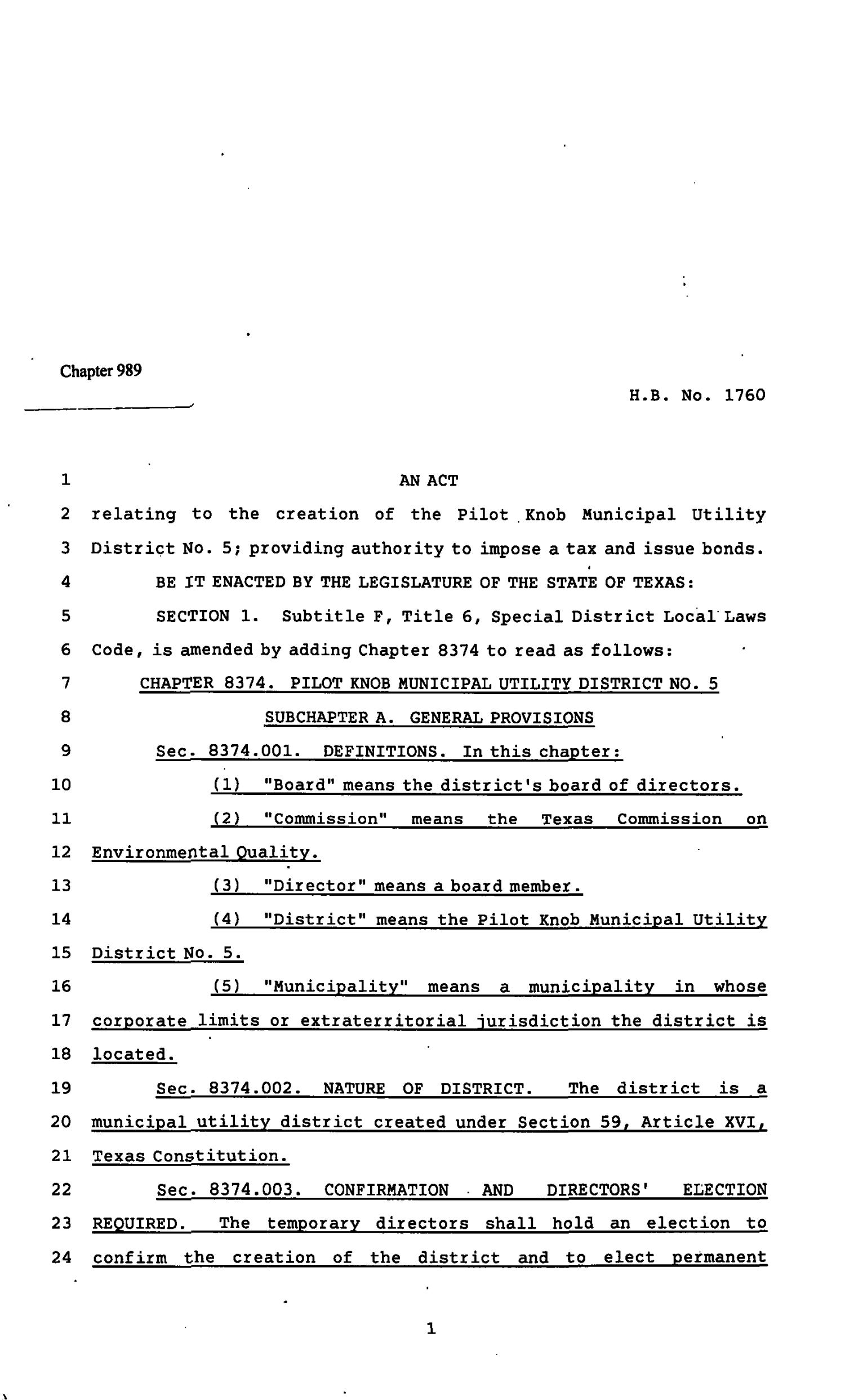 82nd Texas Legislature, Regular Session, House Bill 1760, Chapter 989                                                                                                      [Sequence #]: 1 of 22