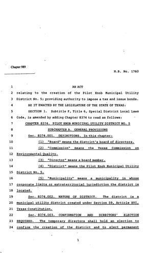 Primary view of 82nd Texas Legislature, Regular Session, House Bill 1760, Chapter 989