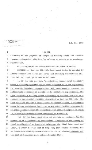 Primary view of object titled '82nd Texas Legislature, Regular Session, House Bill 1770, Chapter 286'.