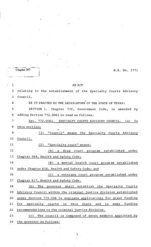 Primary view of object titled '82nd Texas Legislature, Regular Session, House Bill 1771, Chapter 287'.