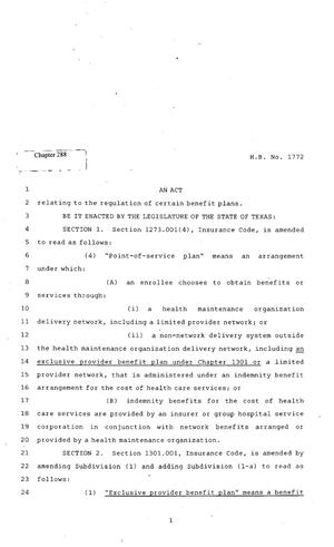 Primary view of object titled '82nd Texas Legislature, Regular Session, House Bill 1772, Chapter 288'.