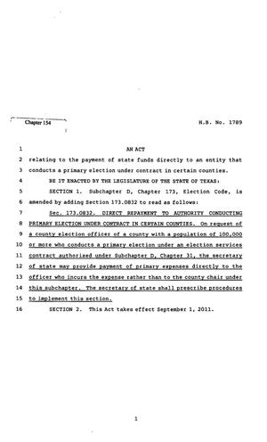 82nd Texas Legislature, Regular Session, House Bill 1789, Chapter 154