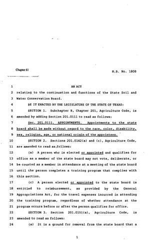 Primary view of object titled '82nd Texas Legislature, Regular Session, House Bill 1808, Chapter 61'.
