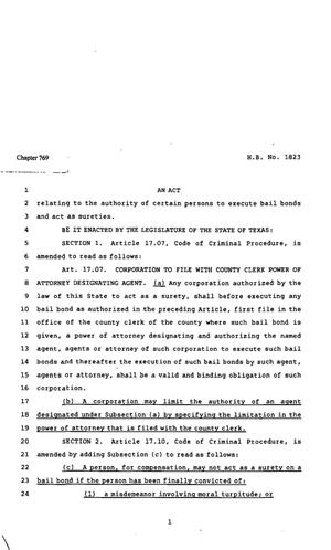 Primary view of object titled '82nd Texas Legislature, Regular Session, House Bill 1823, Chapter 769'.