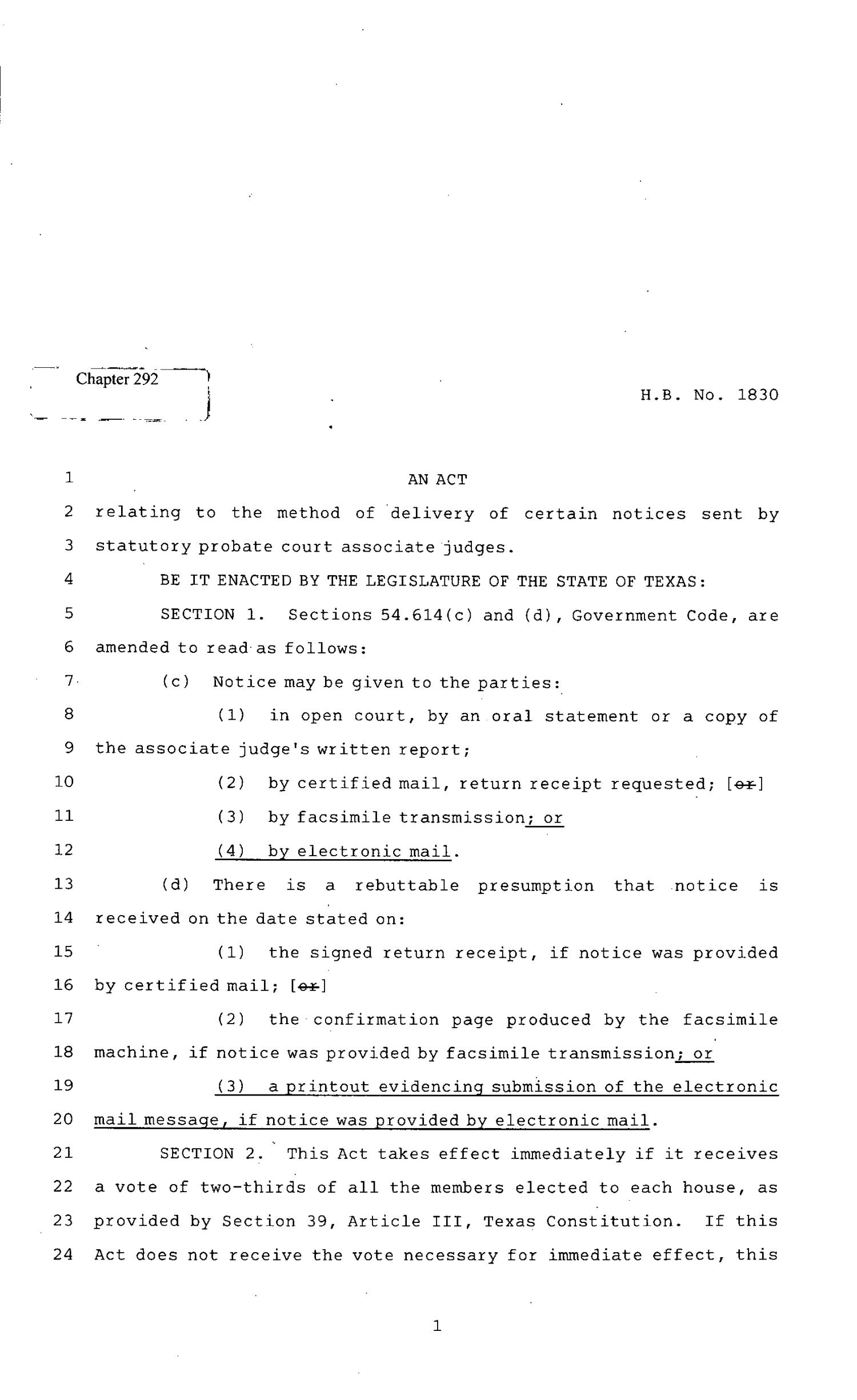 82nd Texas Legislature, Regular Session, House Bill 1830, Chapter 292                                                                                                      [Sequence #]: 1 of 3
