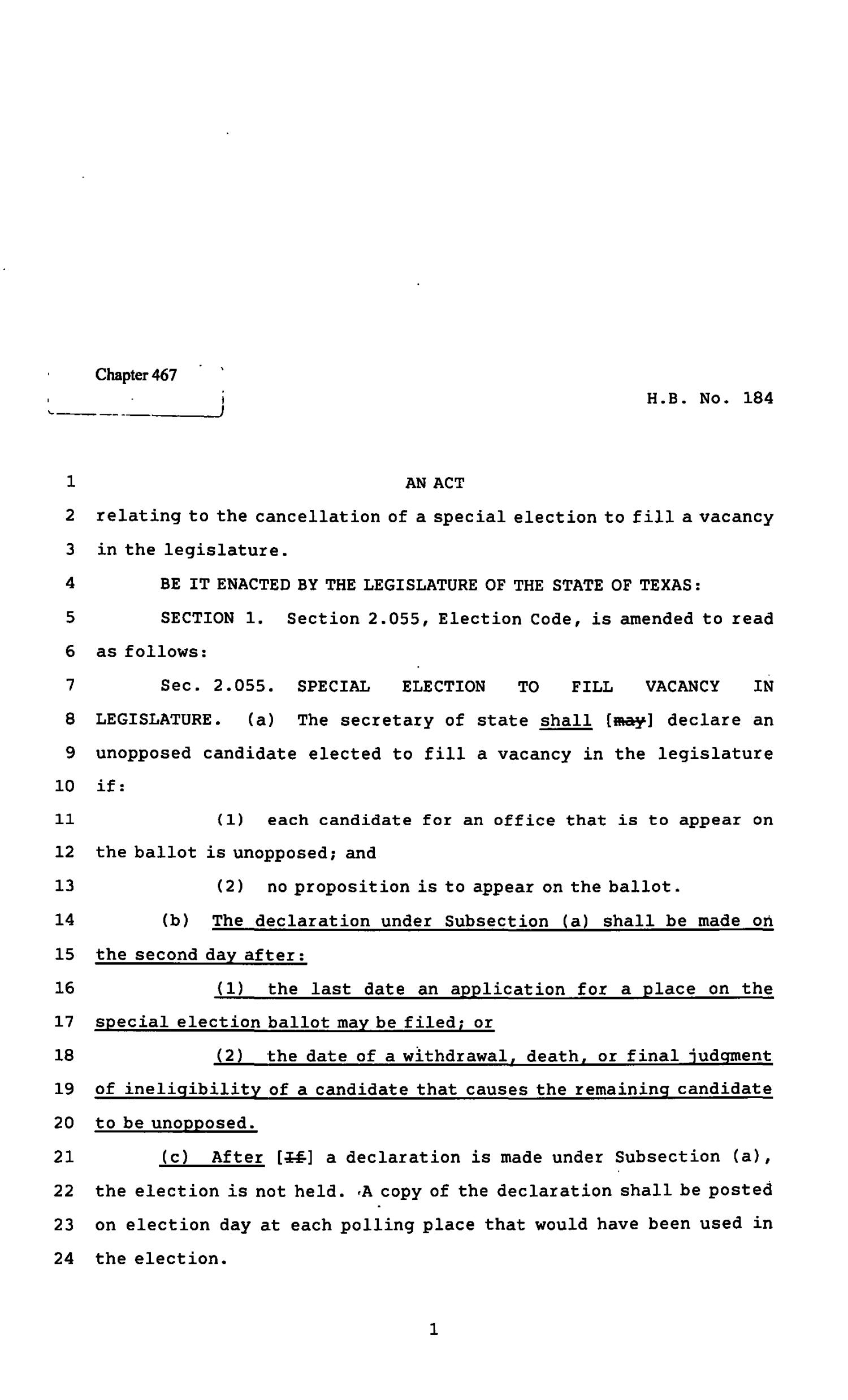 82nd Texas Legislature, Regular Session, House Bill 182, Chapter 467                                                                                                      [Sequence #]: 1 of 3