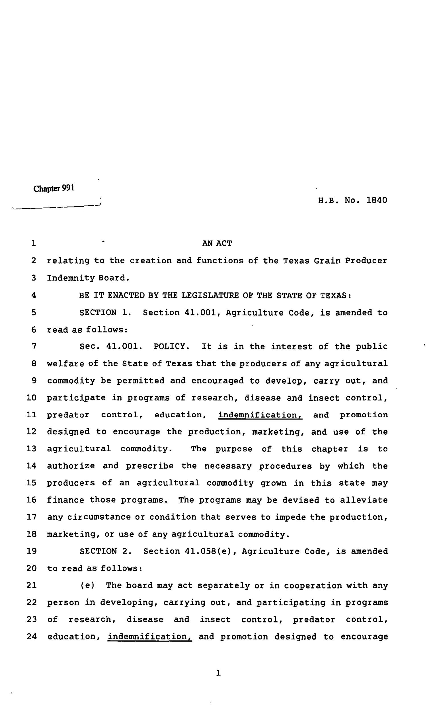 82nd Texas Legislature, Regular Session, House Bill 1840, Chapter 991                                                                                                      [Sequence #]: 1 of 14