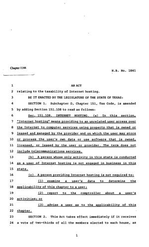 Primary view of object titled '82nd Texas Legislature, Regular Session, House Bill 1841, Chapter 1144'.
