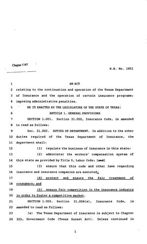 Primary view of object titled '82nd Texas Legislature, Regular Session, House Bill 1951, Chapter 1147'.