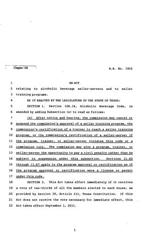 Primary view of object titled '82nd Texas Legislature, Regular Session, House Bill 1952, Chapter 158'.