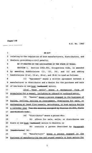 Primary view of object titled '82nd Texas Legislature, Regular Session, House Bill 1960, Chapter 1148'.