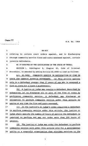 Primary view of object titled '82nd Texas Legislature, Regular Session, House Bill 1964, Chapter 777'.