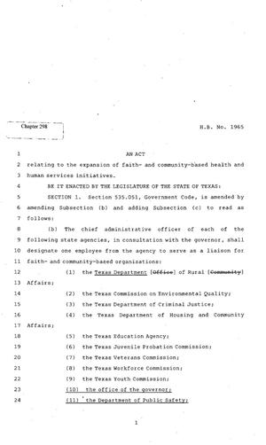 Primary view of object titled '82nd Texas Legislature, Regular Session, House Bill 1965, Chapter 298'.