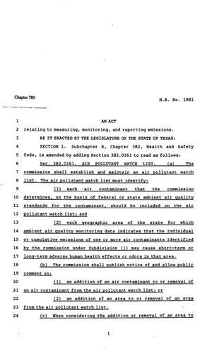 Primary view of object titled '82nd Texas Legislature, Regular Session, House Bill 1981, Chapter 780'.