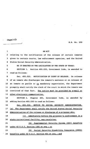 Primary view of object titled '82nd Texas Legislature, Regular Session, House Bill 200, Chapter 1123'.