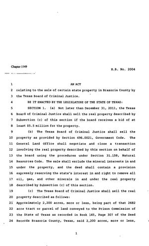 Primary view of object titled '82nd Texas Legislature, Regular Session, House Bill 2004, Chapter 1149'.