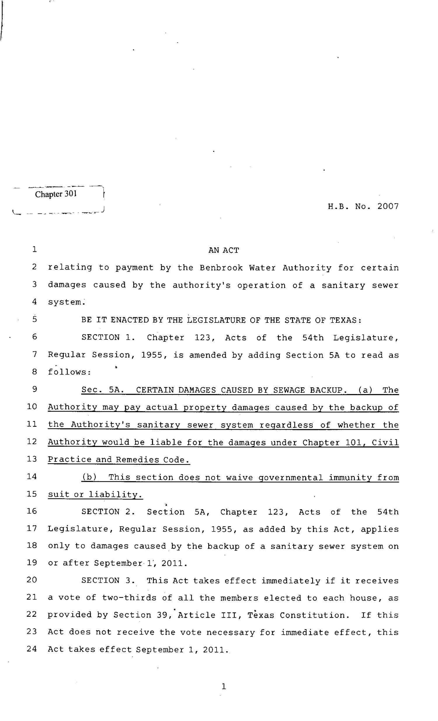 82nd Texas Legislature, Regular Session, House Bill 2007, Chapter 301                                                                                                      [Sequence #]: 1 of 2