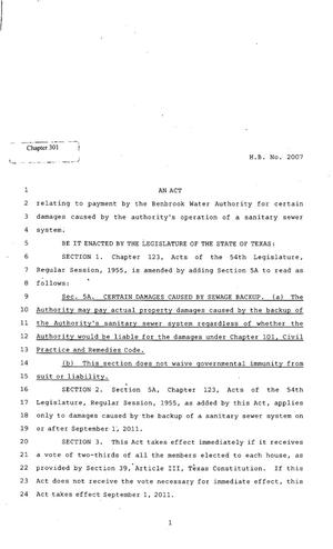 Primary view of object titled '82nd Texas Legislature, Regular Session, House Bill 2007, Chapter 301'.