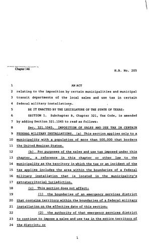 Primary view of object titled '82nd Texas Legislature, Regular Session, House Bill 205, Chapter 146'.