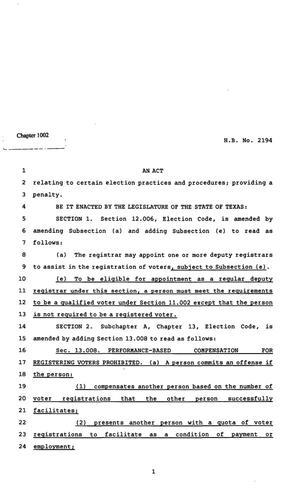 Primary view of object titled '82nd Texas Legislature, Regular Session, Senate Bill 2194, Chapter 1002'.