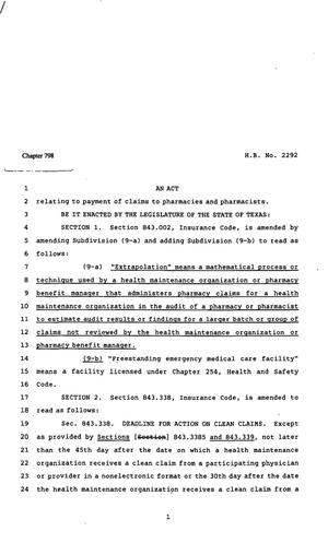82nd Texas Legislature, Regular Session, House Bill 2292, Chapter 798, 82nd Legislature of Texas, House Bills, An act relating to payment of claims to pharmacies and pharmacists.
