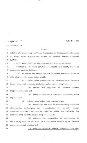 Primary view of object titled '82nd Texas Legislature, Regular Session, House Bill 240, Chapter 220'.