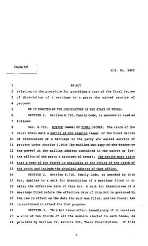 Primary view of object titled '82nd Texas Legislature, Regular Session, House Bill 2422, Chapter 529'.