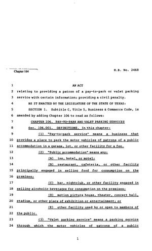 82nd Texas Legislature, Regular Session, House Bill 2468, Chapter 164