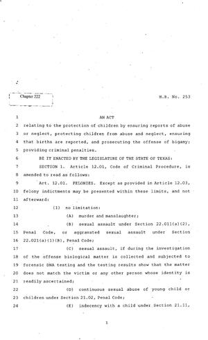 Primary view of object titled '82nd Texas Legislature, Regular Session, House Bill 253, Chapter 222'.