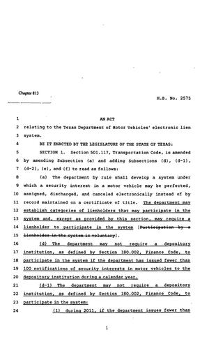 Primary view of object titled '82nd Texas Legislature, Regular Session, House Bill 2575, Chapter 813'.