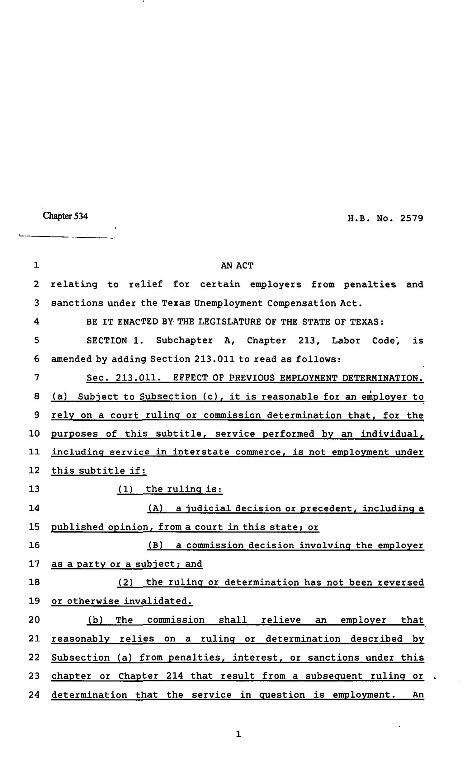 82nd Texas Legislature, Regular Session, House Bill 2579, Chapter 534                                                                                                      [Sequence #]: 1 of 3