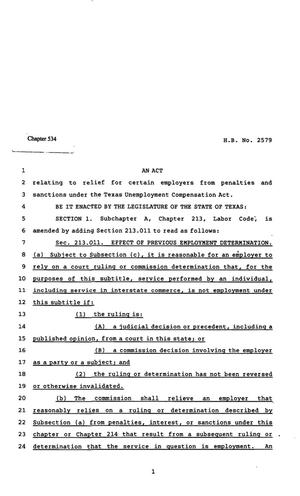 82nd Texas Legislature, Regular Session, House Bill 2579, Chapter 534