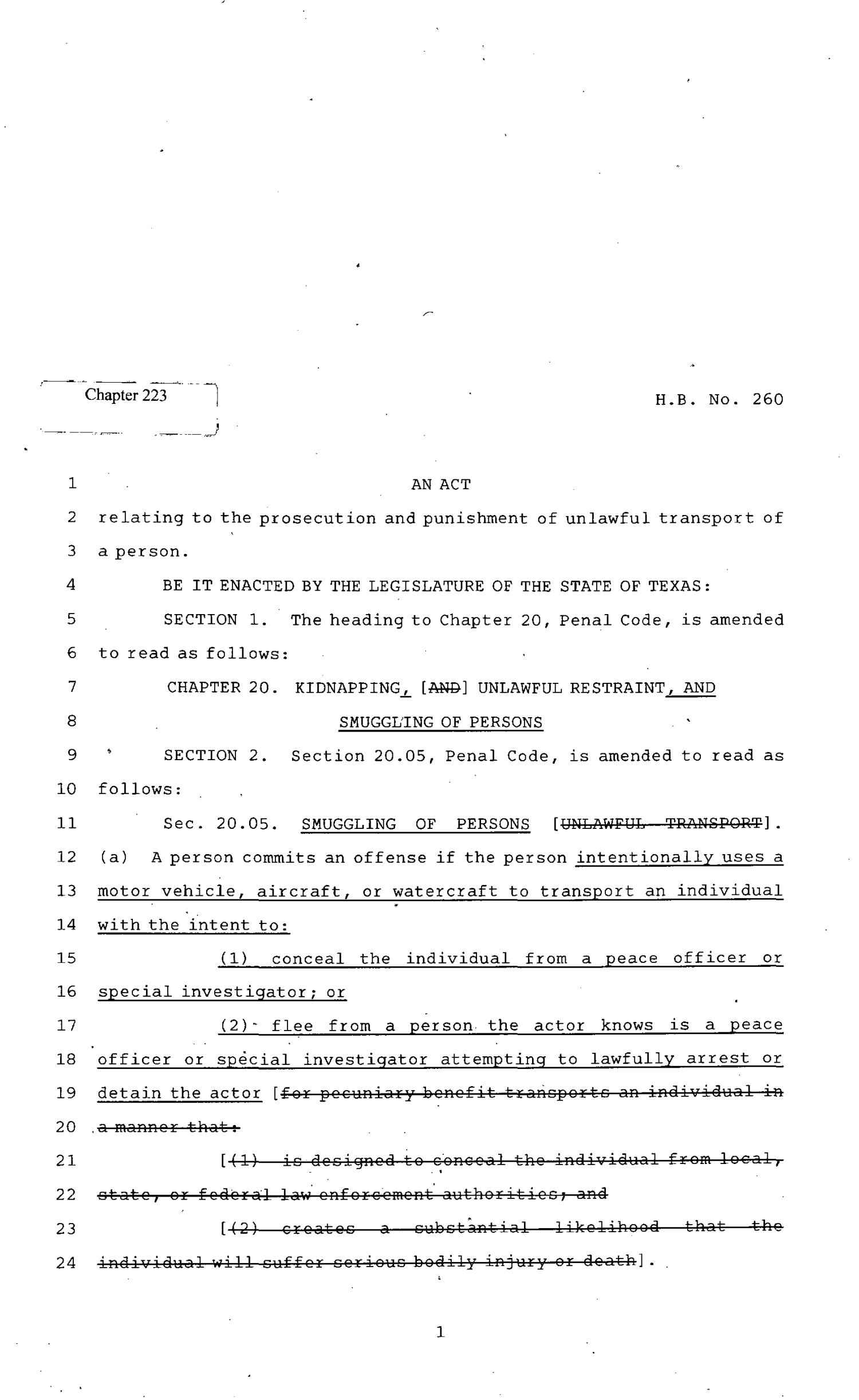 82nd Texas Legislature, Regular Session, House Bill 260, Chapter 223                                                                                                      [Sequence #]: 1 of 8