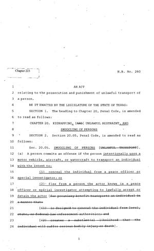 Primary view of object titled '82nd Texas Legislature, Regular Session, House Bill 260, Chapter 223'.