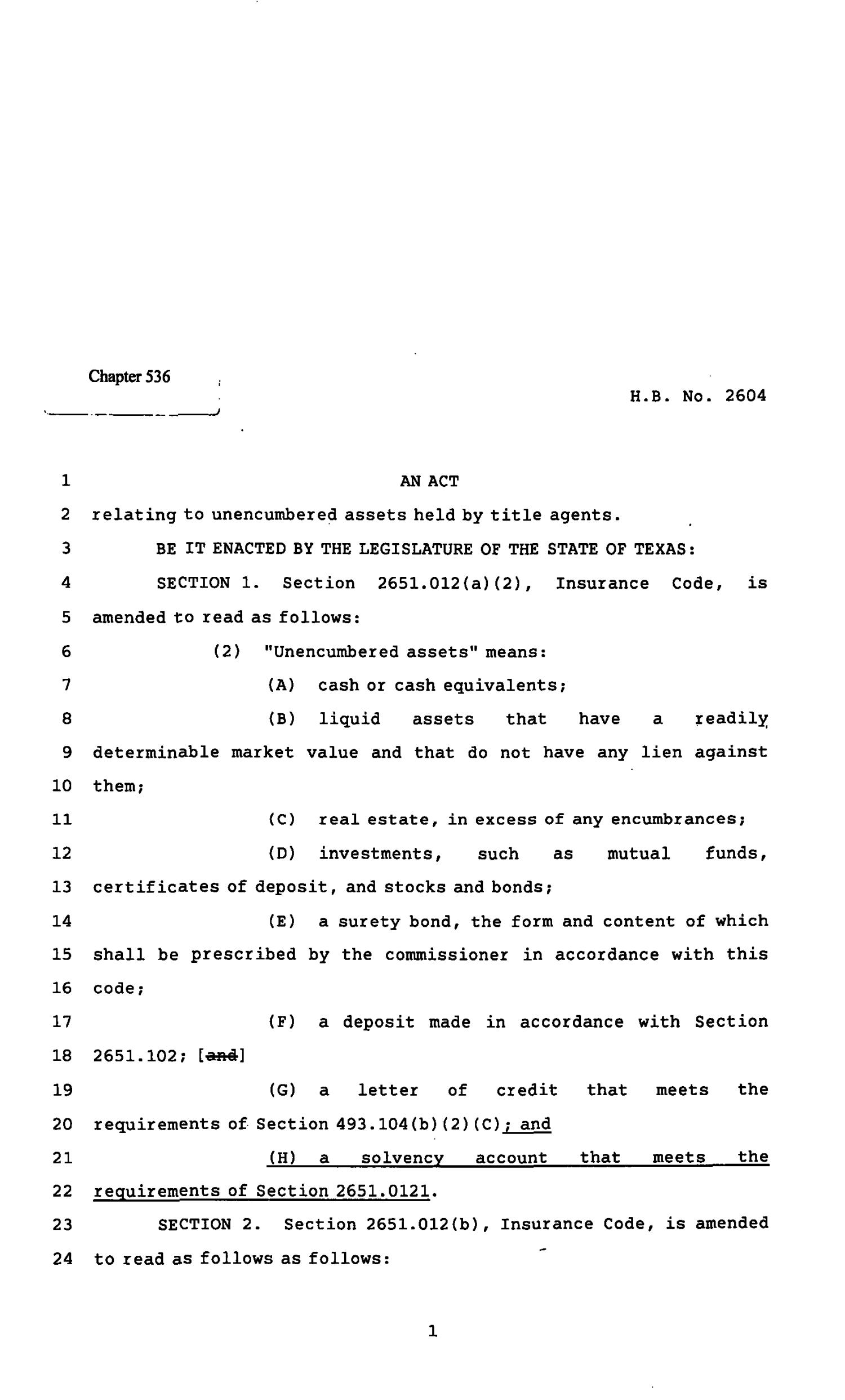 82nd Texas Legislature, Regular Session, House Bill 2604, Chapter 536                                                                                                      [Sequence #]: 1 of 7